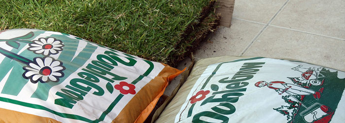Bags of Fertilizer on Grass