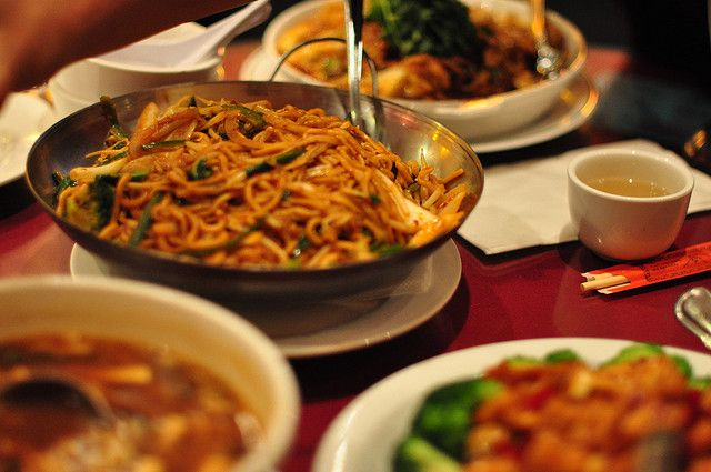 Chinese Food on a table