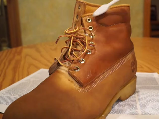 Apply Suede Cleaner Evenly to Boots