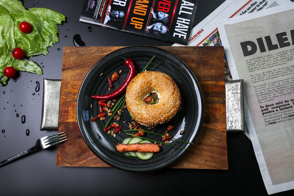 Bagel in a plate