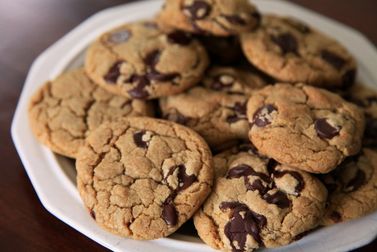 Close up of Chocolate Chip Cookies in Plate