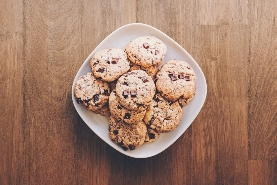 Chocolate Chip Cookies in a Plate