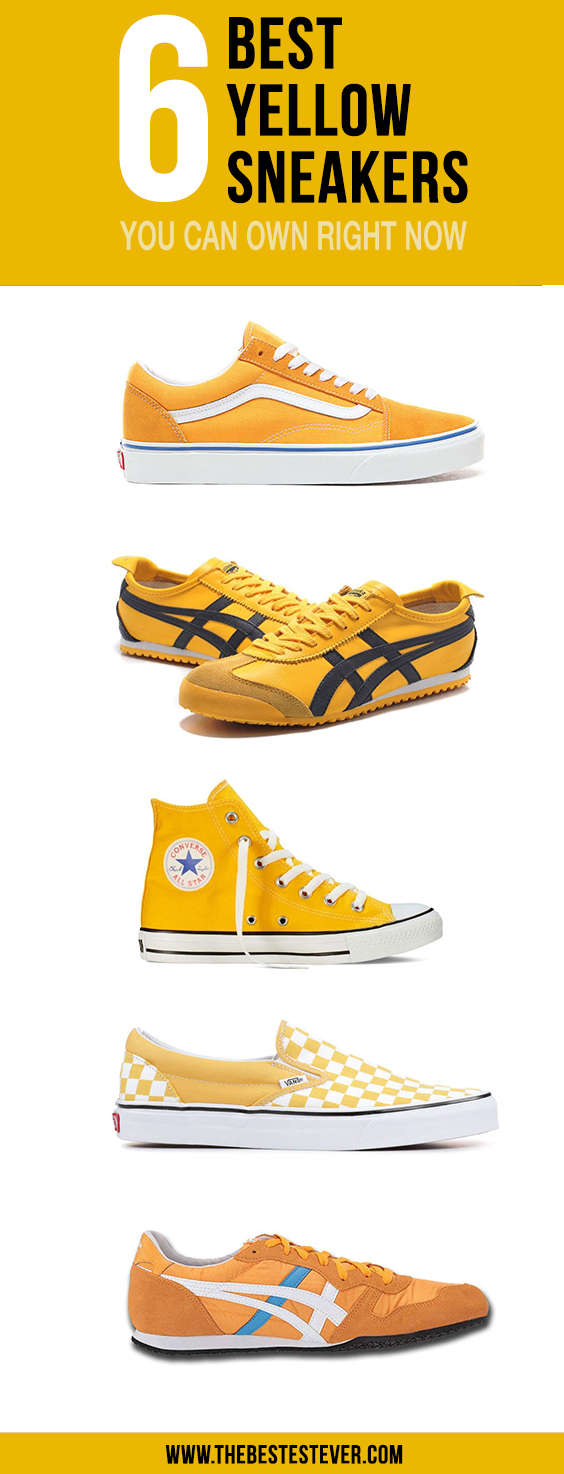 Vertical Image Showing the List of 6 Best Yellow Sneakers