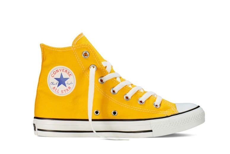 Yellow Chuck Taylor High-Tops on White Background