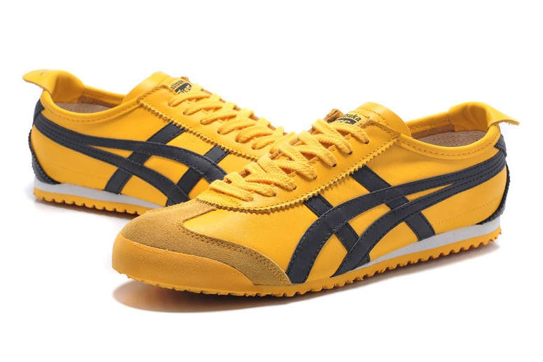 Yellow Onitsuka Tiger Mexico 66 on a White Background