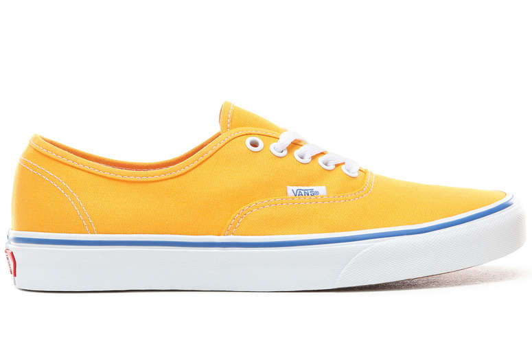 Yellow Vans Authentic on White Background