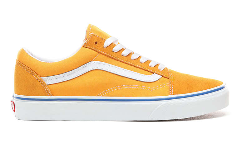 Yellow Vans Old Skool on a White Background