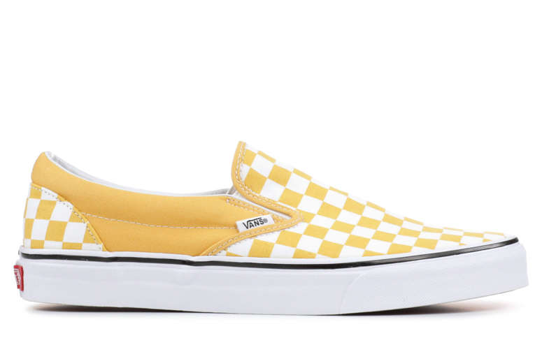 Yellow Checkered Vans Slip On on White Background