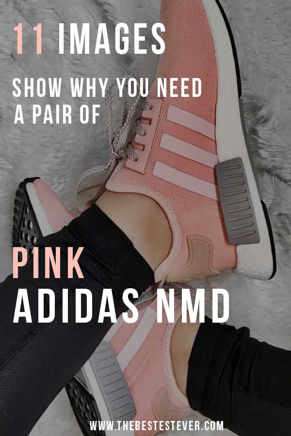 Woman sitting with a pair of Pink Adidas NMD