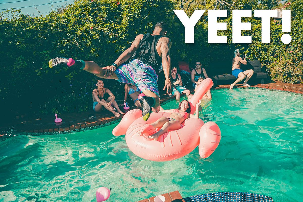 Man Yelling Yeet, Jumping into the Pool