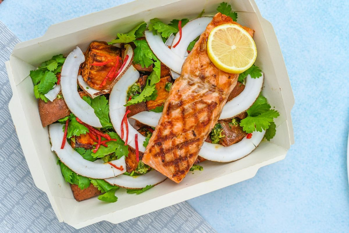 Salmon Salad in a Carboard Box