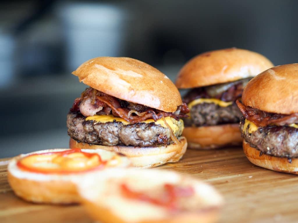 Hamburgers on a table