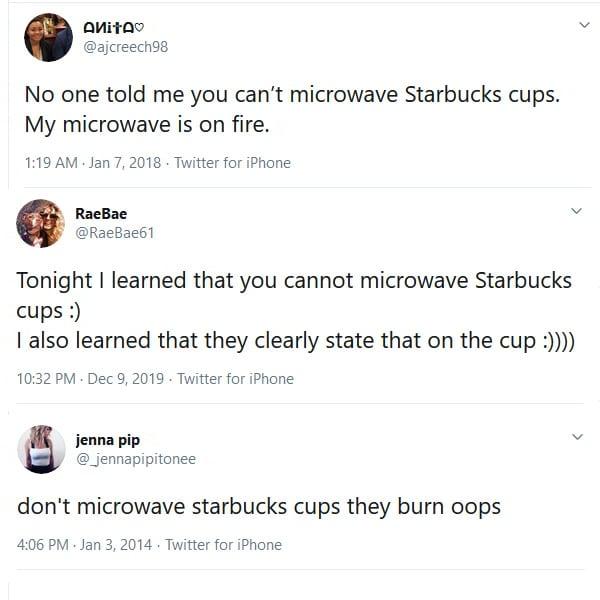 Twitter Screenshots of Starbucks Cups catching fire.