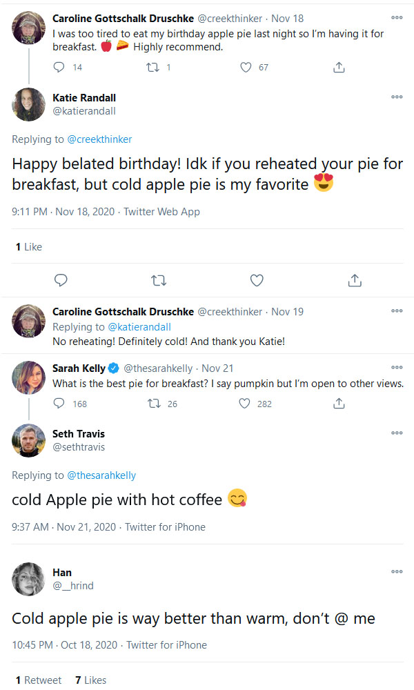 Twitter Reacts to Eating Cold Apple Pie