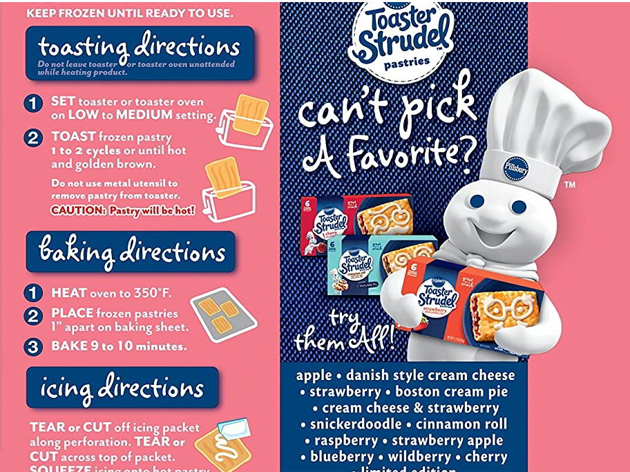 Instructions for Baking a Toaster Strudel