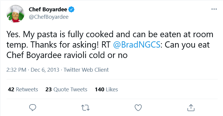 Can You Eat Chef Boyardee Cold? (Twitter Response)