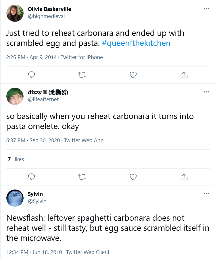 Twitter Reacts to Reheated Carbonara